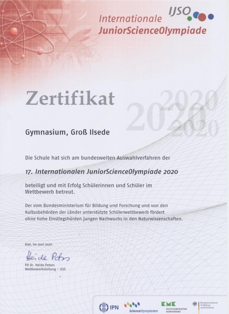 17. Internationale JuniorScienceOlympiade 2020:  GGI erhält Schulzertifikat!