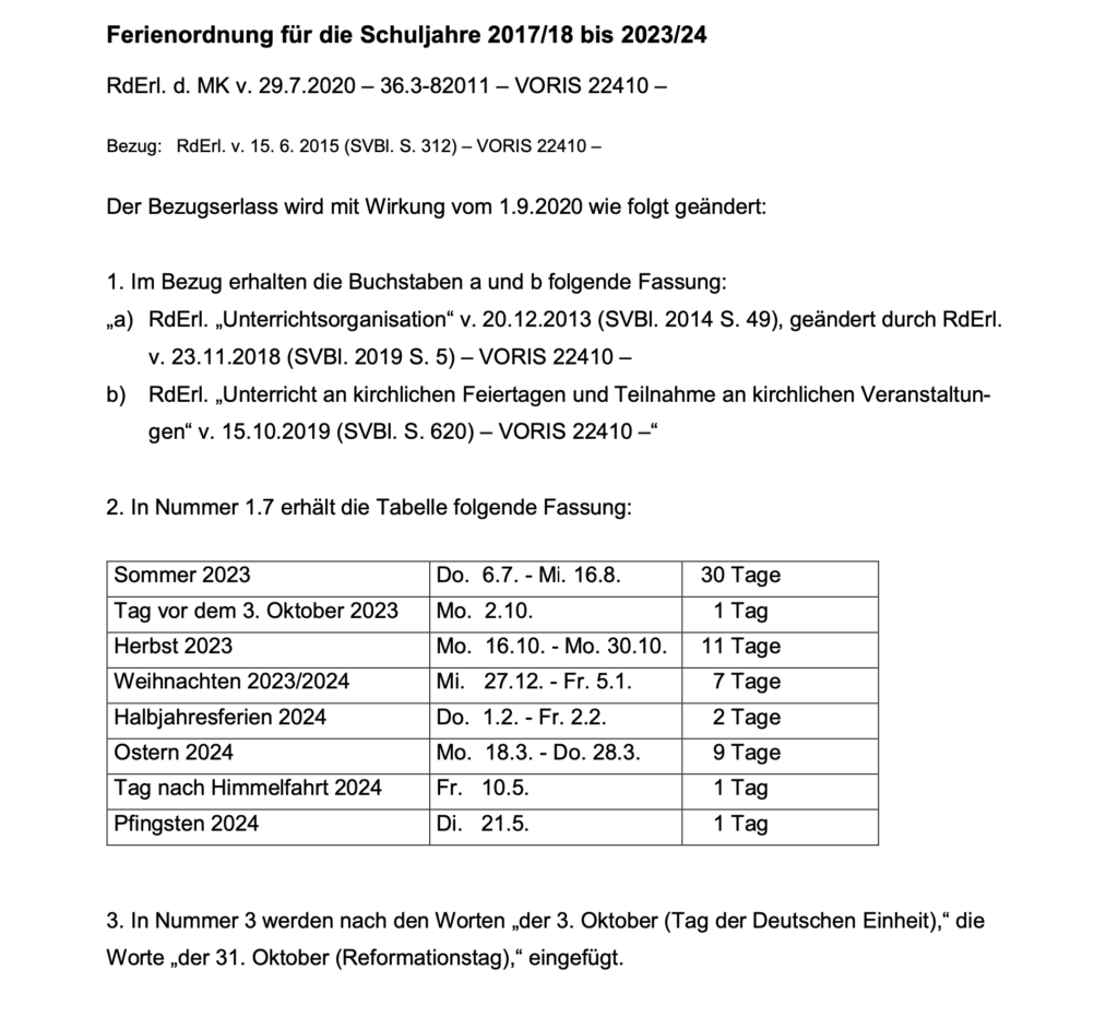 Änderung der Schulferien im Schuljahr 2023/24